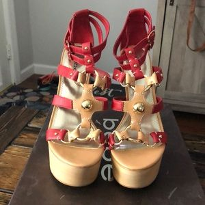 bebe MARCELLE Red/Gold Strappy Heels Size 10